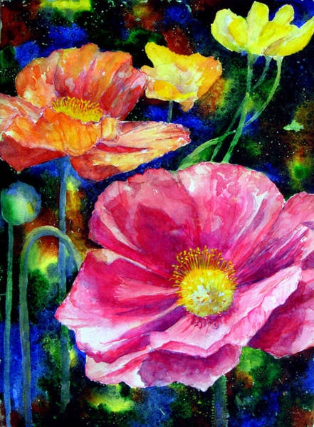 Neon Pink Painting - Neon Poppies by Mary Giacomini