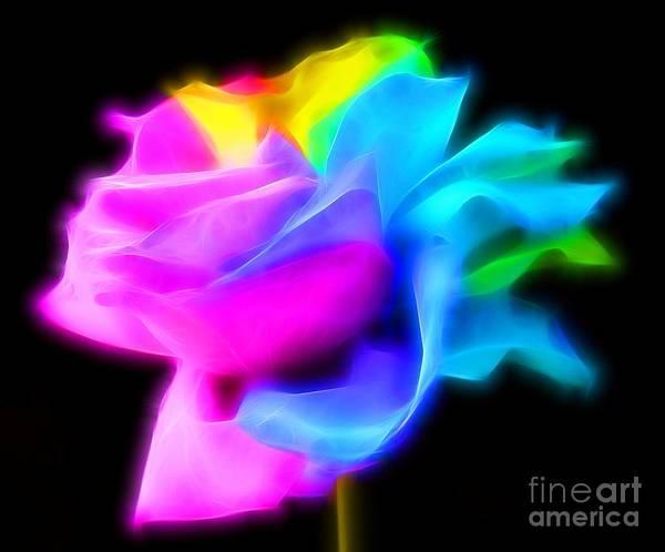 Rainbow Rose Wall Art - Photograph - Neon Romance by Krissy Katsimbras