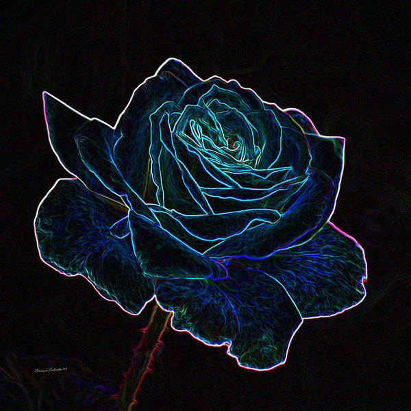 Neon Mixed Media - Neon Rose 3 by Ernie Echols