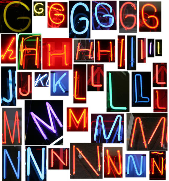 Mike D Photograph - neon series G through N by Michael Ledray