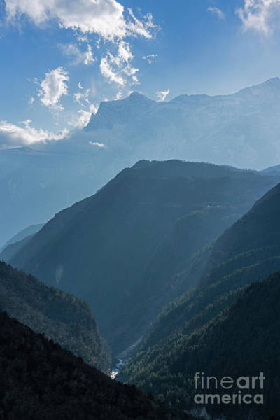 Wall Art - Photograph - Nepal Road To Namche Sunray Layers by Mike Reid