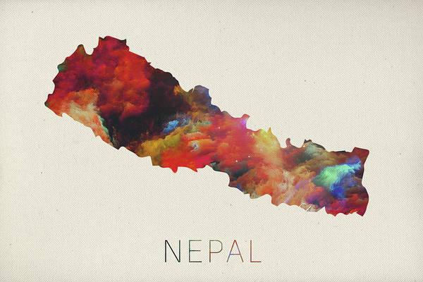 Nepal Wall Art - Mixed Media - Nepal Watercolor Map by Design Turnpike