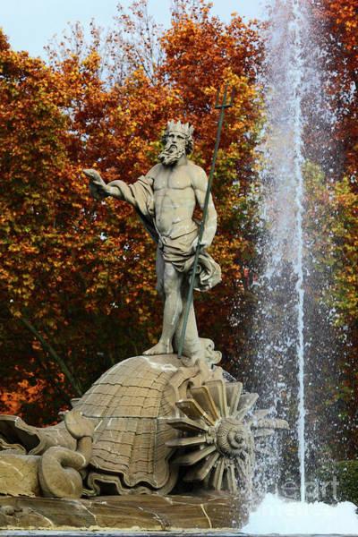 Photograph - Neptune Fountain Madrid by James Brunker