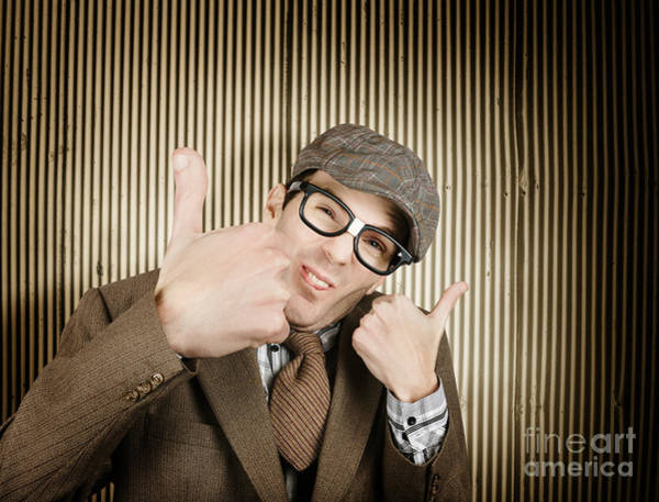Photograph - Nerd With Big Thumbs Up by Jorgo Photography - Wall Art Gallery