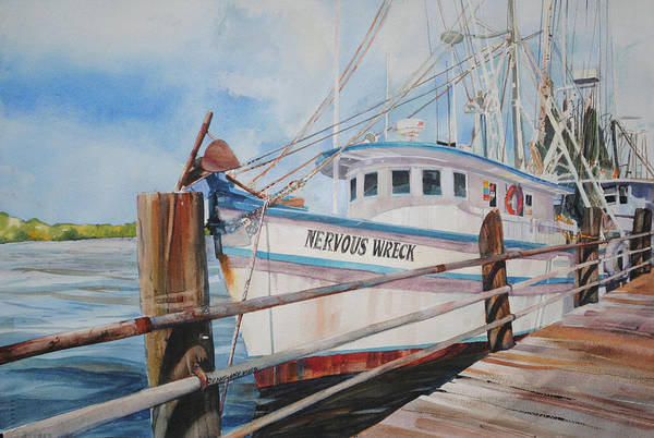 Waterway Painting - Nervous Wreck by P Anthony Visco