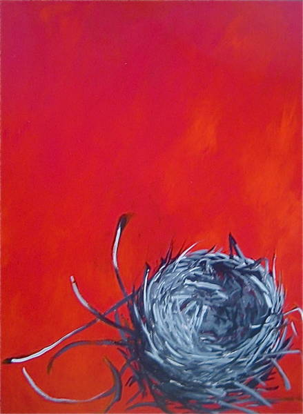Painting - Nest On Red by Tilly Strauss