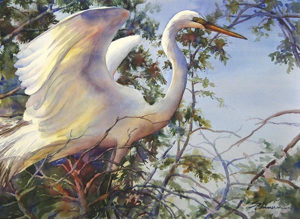 Marsh Bird Painting - Nesting Egret by Sue Zimmermann