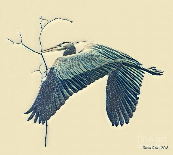 Mixed Media - Nesting Heron by Denise Railey