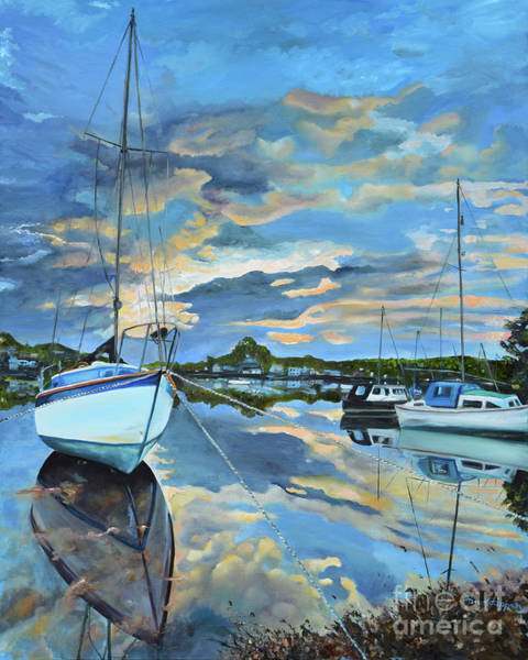Painting - Nestled In For The Night At Mylor Bridge - Cornwall Uk - Sailboat  by Jan Dappen