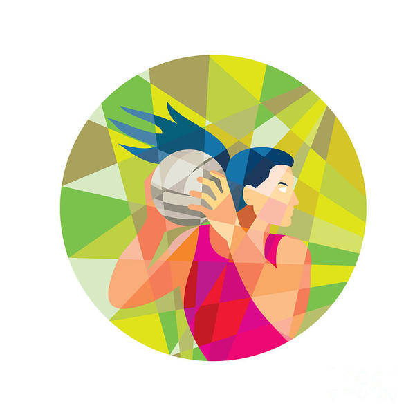 Wall Art - Digital Art - Netball Player Ball Rebound Low Polygon by Aloysius Patrimonio