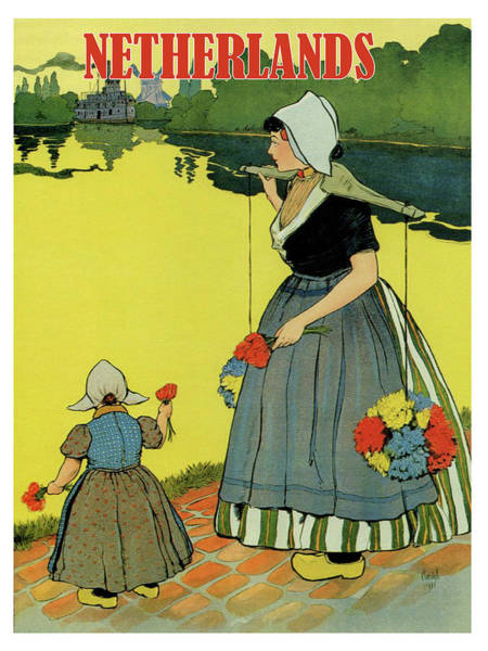 Wall Art - Painting - Netherlands, Woman In Traditional Costume With Her Daughter By The Coast by Long Shot