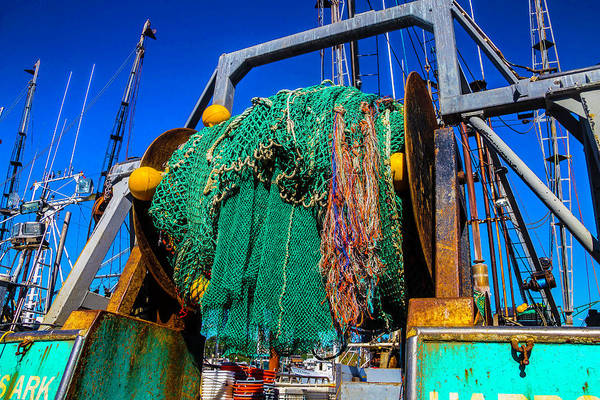 Dry Dock Photograph - Nets On Fishing Boat by Garry Gay