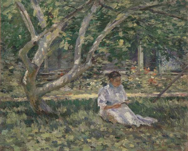Victorian Garden Wall Art - Painting - Nettie Reading by Theodore Robinson