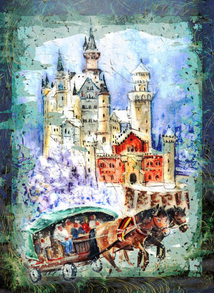 Painting - Neuschwanstein Castle Authentic Madness by Miki De Goodaboom