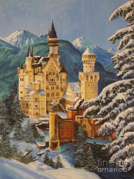 Bavarian Alps Painting - Neuschwanstein Castle In Winter by Charlotte Blanchard