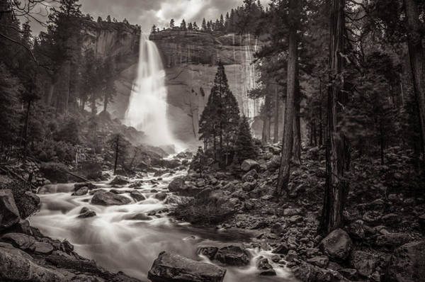 Photograph - Nevada Fall Monochrome by Scott McGuire