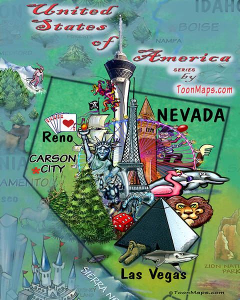 Digital Art - Nevada Fun Map by Kevin Middleton