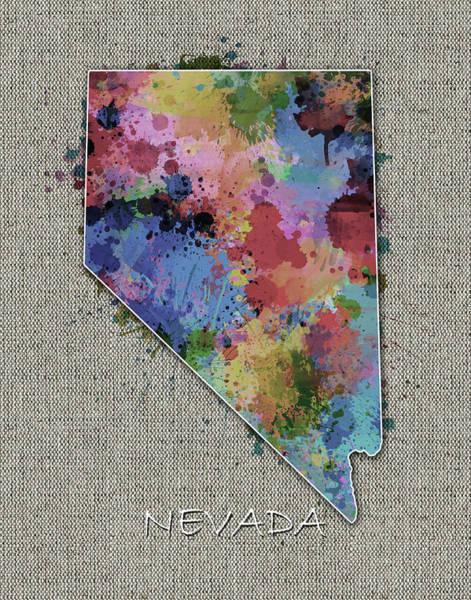 Wall Art - Digital Art - Nevada Map Color Splatter 5 by Bekim M