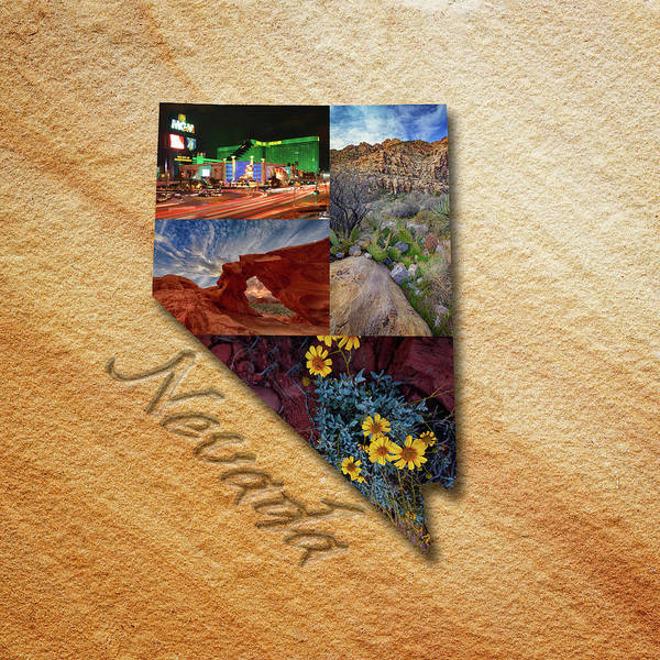 Photograph - Nevada State Map Collage by Rick Berk