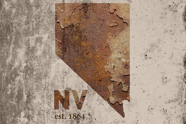Reno Wall Art - Mixed Media - Nevada State Map Industrial Rusted Metal On Cement Wall With Founding Date Series 044 by Design Turnpike