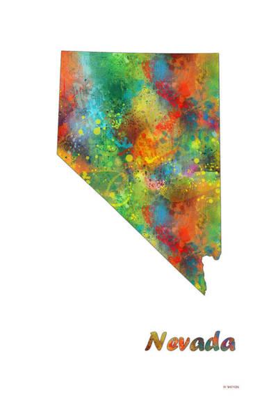 Nv Digital Art - Nevada State Map by Marlene Watson