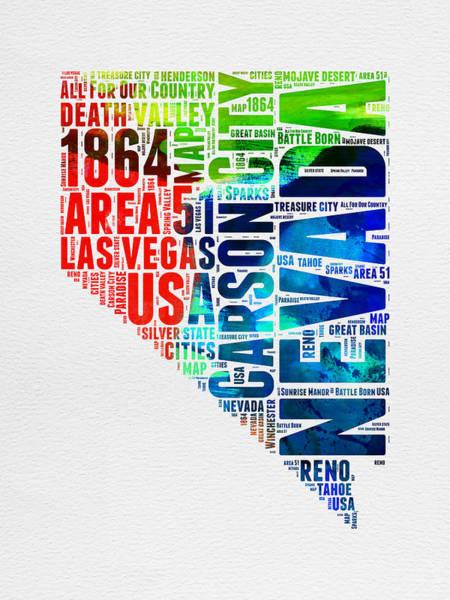 Nevada Wall Art - Digital Art - Nevada Watercolor Word Cloud  by Naxart Studio