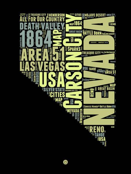 Nevada Wall Art - Digital Art - Nevada Word Cloud 1 by Naxart Studio