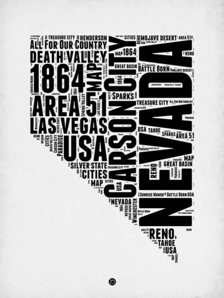 Nevada Wall Art - Digital Art - Nevada Word Cloud 3 by Naxart Studio