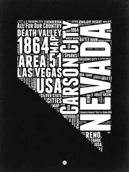 Are Wall Art - Digital Art - Nevada Word Cloud Black And White Map by Naxart Studio