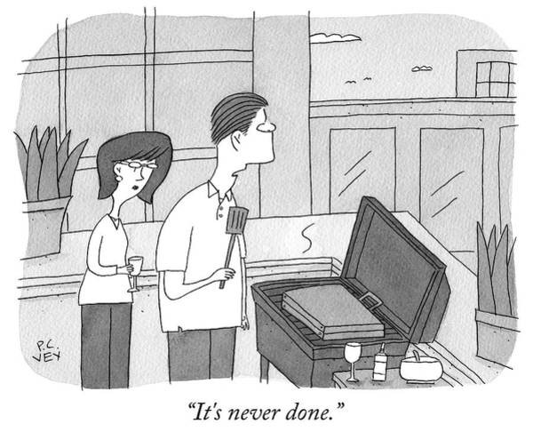 Briefcase Drawing - Never Done by Peter C Vey