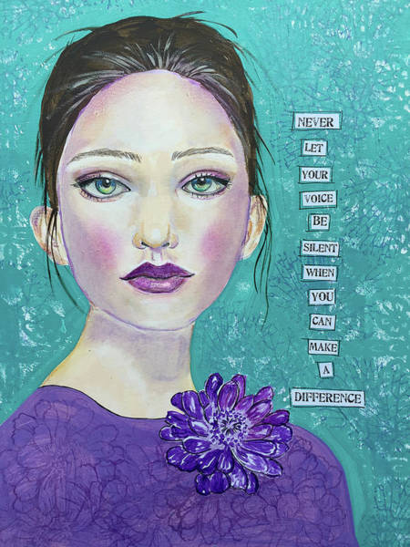 Teal Mixed Media - Never Let Your Voice Be Silent by Lynn Colwell