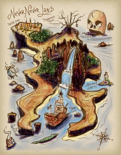 Lagoon Digital Art - Never Never Land by Russell Pierce