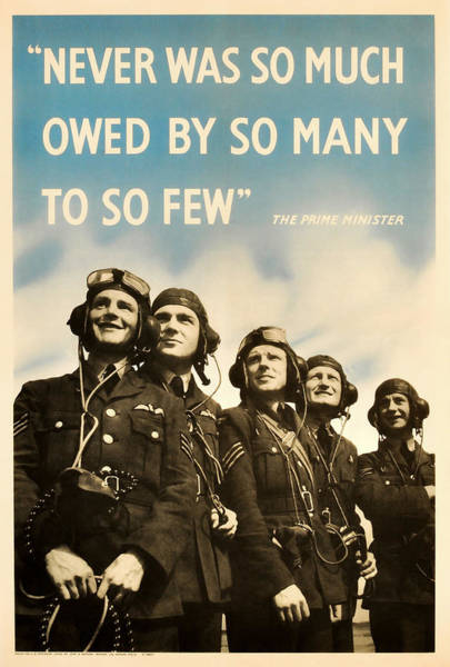 Wwii Mixed Media - Never Was So Much Owed By So Many To So Few - Ww2 Poster by War Is Hell Store