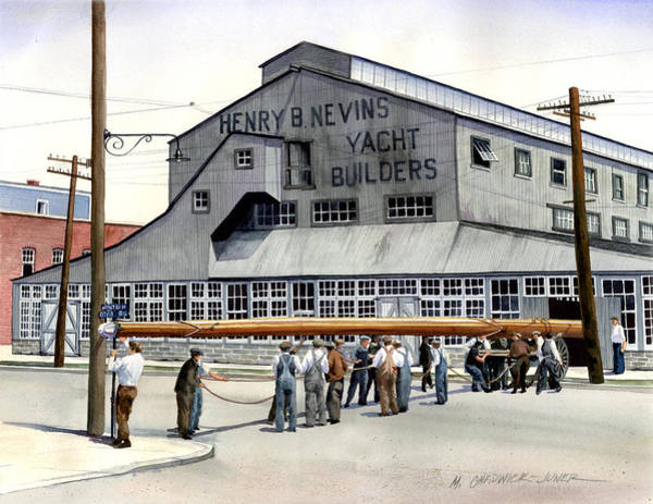 Huge Painting - Nevins Boat Yard by Marguerite Chadwick-Juner