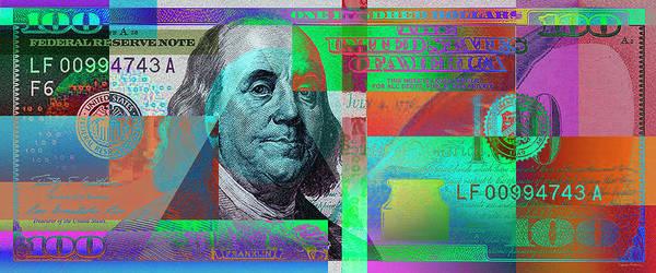 Digital Art - New 2009 Series Pop Art Colorized Us One Hundred Dollar Bill  No. 2 by Serge Averbukh