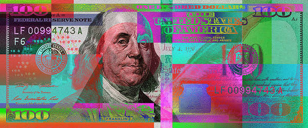 Banking Digital Art - New 2009 Series Pop Art Colorized Us One Hundred Dollar Bill  No. 3 by Serge Averbukh