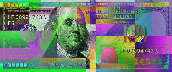 Digital Art - New 2009 Series Pop Art Colorized Us One Hundred Dollar Bill  No. 4 by Serge Averbukh