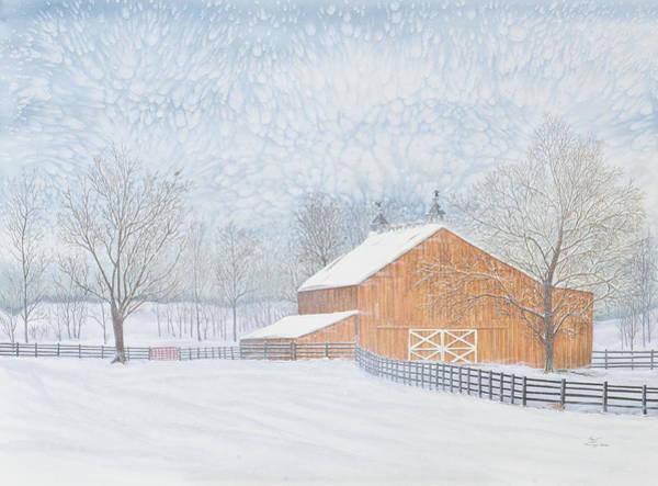 Painting - New Barn In Snowstorm by Sam Davis Johnson