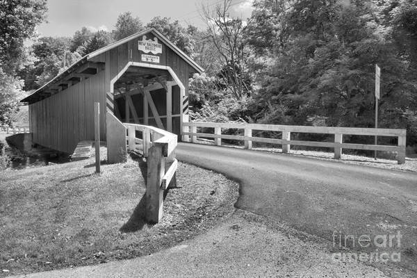 Somerset County Photograph - New Blatimore Covered Bidge Around The Bend Black And White by Adam Jewell