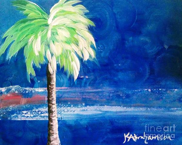 New Blue Horizons Palm Tree Art Print