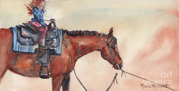 Aqha Painting - New Boots  by Maria's Watercolor