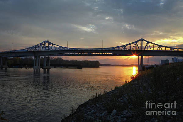Photograph - New Bridge At Winona Minnesota Sunrise by Kari Yearous