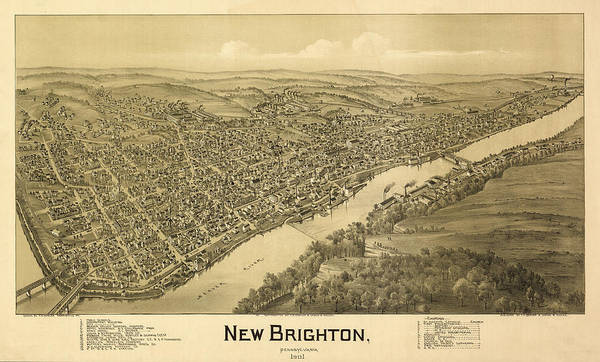 Brighton Painting - New Brighton, Pennsylvania 1901 by Fowler Thaddeus Mortimer