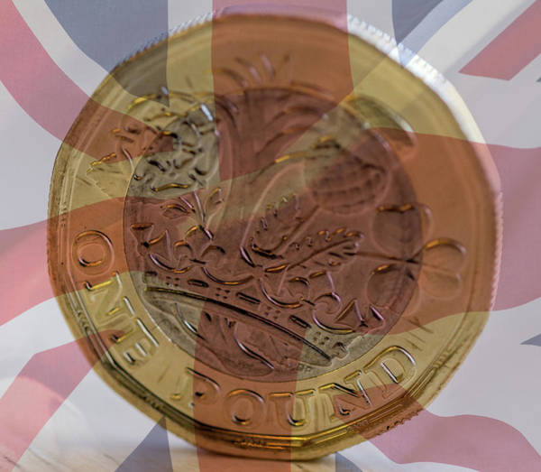 Photograph - New British One Pound Coin Blended With Union Jack B by Jacek Wojnarowski