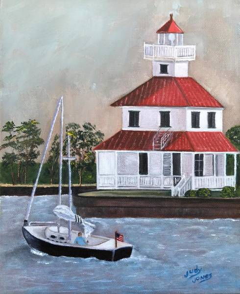 Wall Art - Painting - New Canal Lighthouse by Judy Jones