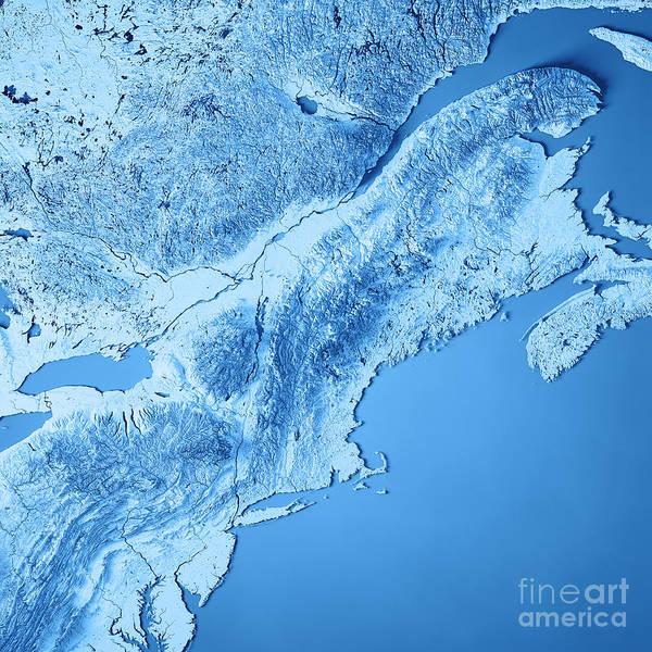 Adirondack Mountains Digital Art - New England 3d Render Topographic Map Blue by Frank Ramspott