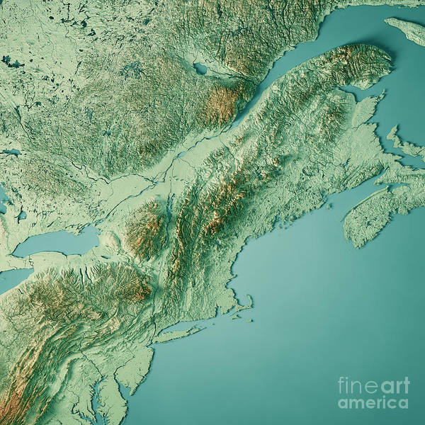 Adirondack Mountains Digital Art - New England 3d Render Topographic Map Color by Frank Ramspott