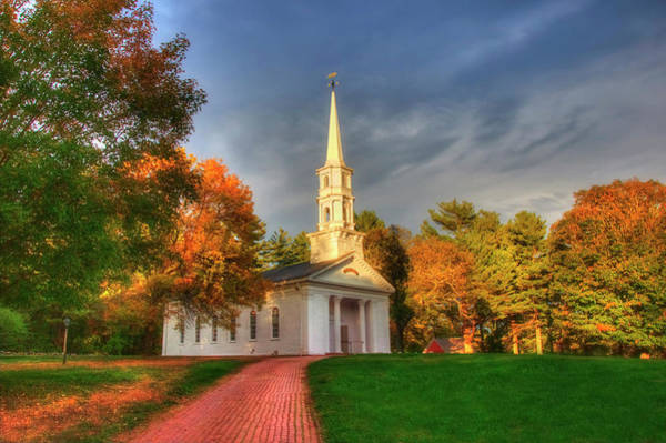 Photograph - New England Autumn - White Chapel by Joann Vitali