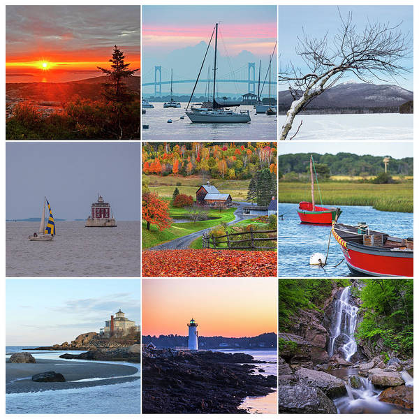 Photograph - New England Collage Maine New Hampshire Vermont Massachusetts Rhode Island Connecticut by Toby McGuire