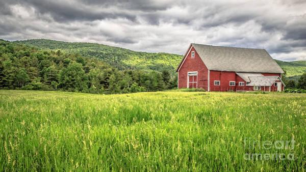 New England Barn Photograph - New England Farm Landscape by Edward Fielding